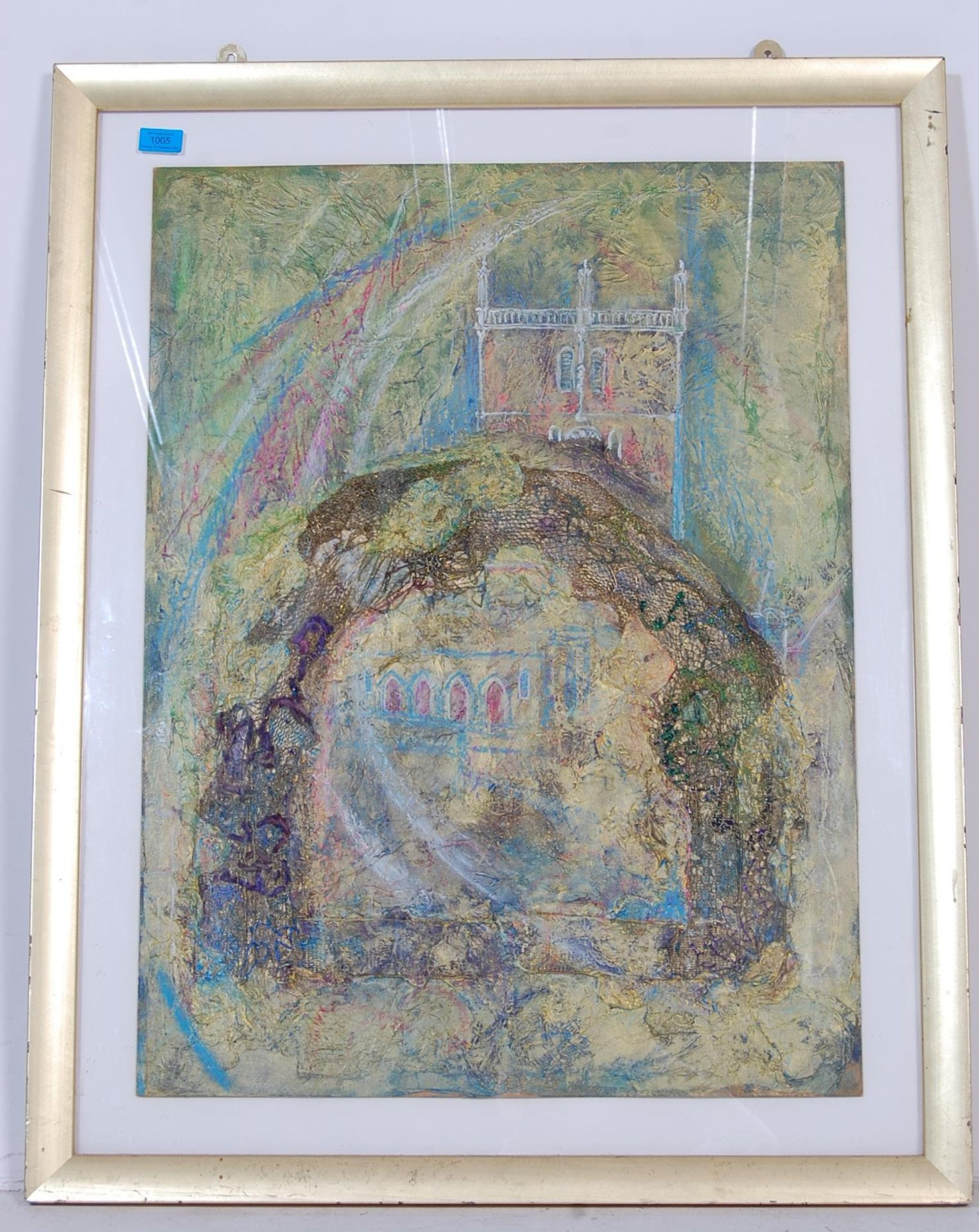 DIANE THOMAS - ST DAVIDS CATHEDRAL (2004). A MIXED MEDIA PAINTING DEPICTING ST DAVIDS CATHEDRAL.