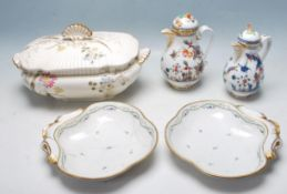 GROUP OF ANTIQUE ROYAL VIENNA JUGS AND BOWLS & VICTORIAN TUREEN