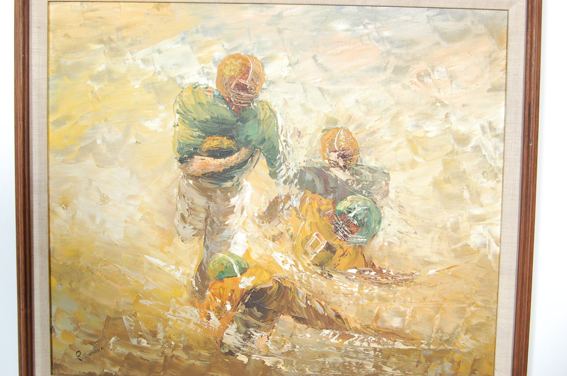 AMERICAN FOOTBALL OIL ON CANVAS PALETTE KNIFE PAINTING - Image 2 of 6