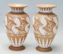 TWO DOULTON LAMBETH SILICON VASES