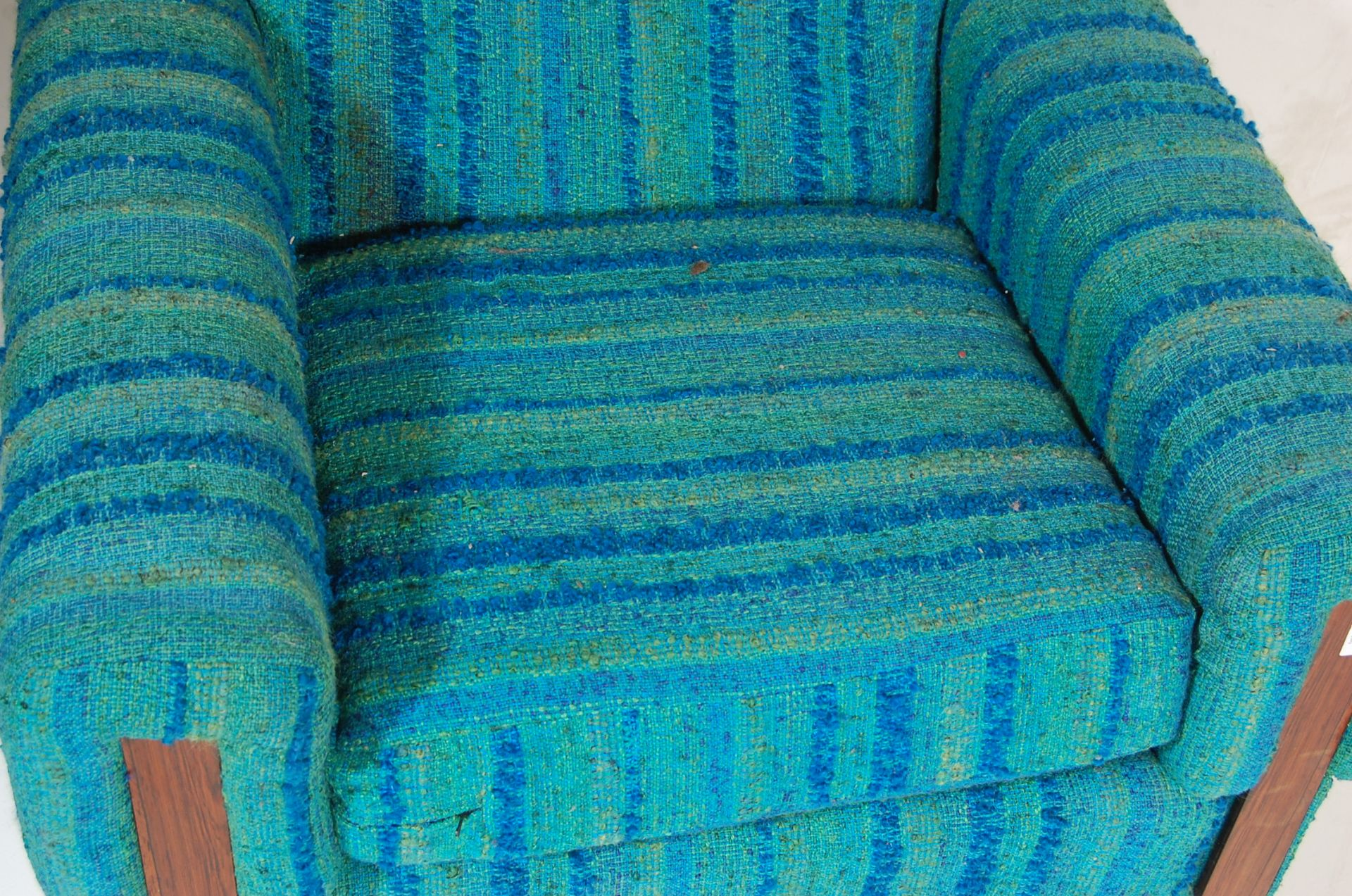 A retro mid century teak wood and upholstered easy chair / armchair - Image 3 of 5