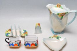 ART DECO ROYAL WINTON CERAMIC TABLE WARE TOGETHER WITH CZECH PORCELAIN MILK JUG AND SUGAR BOWL