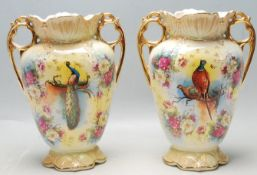 PAIR OF MID 20TH CENTURY VASES WITH POLYCHROME DECORATION AND SCALLOPED BASE