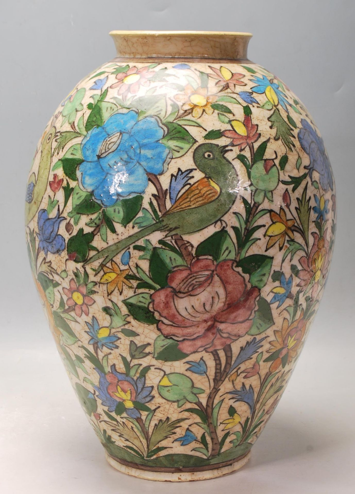 LATE 20TH CENTURY PERSIAN ISLAMIC VASE WITH POLYCHROME DECORATION - Image 4 of 7