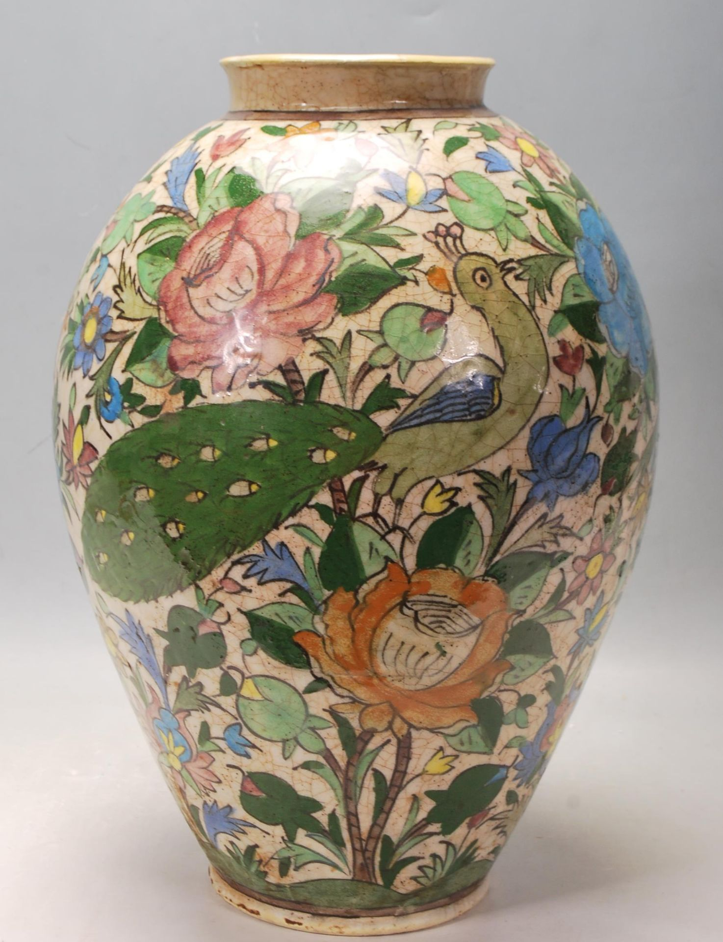 LATE 20TH CENTURY PERSIAN ISLAMIC VASE WITH POLYCHROME DECORATION - Image 3 of 7