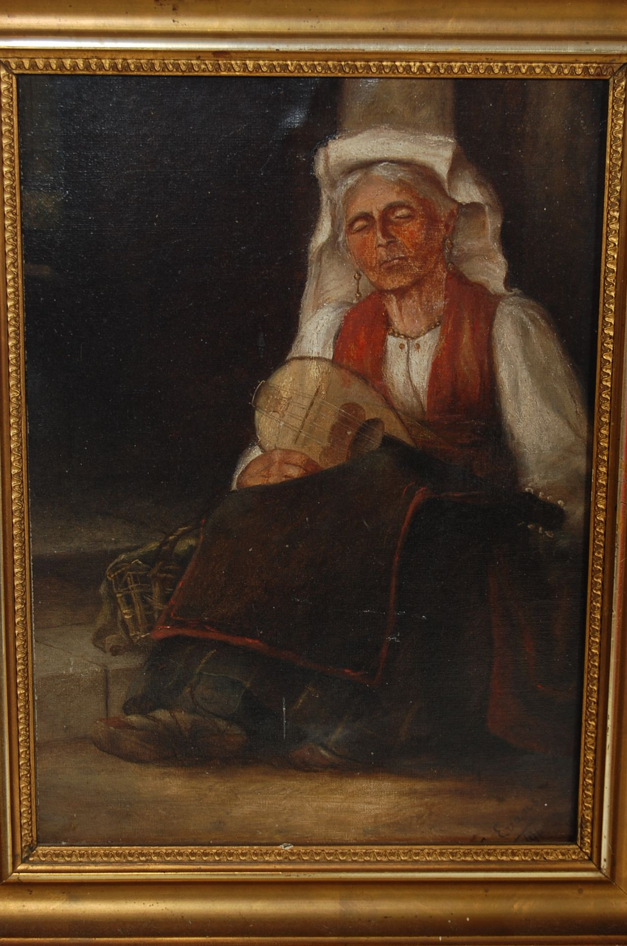 19TH CENTURY OIL OF A SLEEPING MANDOLIN PLAYER BY C EVANS - Image 2 of 5