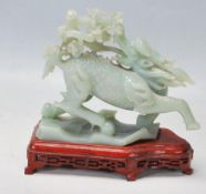20TH CENTURY CHINESE ORIGINAL GREEN HARD STONE CARVED FIGURINE OF A QILIN