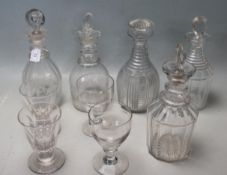 FIVE 18TH CENTURY GEORGIAN GLASS DECANTERS AND VICTORIAN DRINKING GLASSES