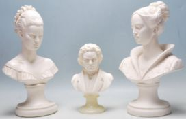 TWO LARGE FEMALE PLASTER BUSTS AND A SMALL BEETHOVEN BUST