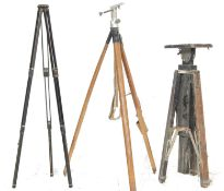 COLLECTION OF THREE VINTAGE SURVEYORS TRIPOD STANDS