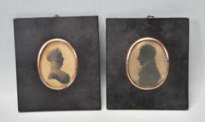 PAIR OF VICTORIAN 19TH CENTURY SIDE PORTRAITS / PORTRAIT MINIATURE