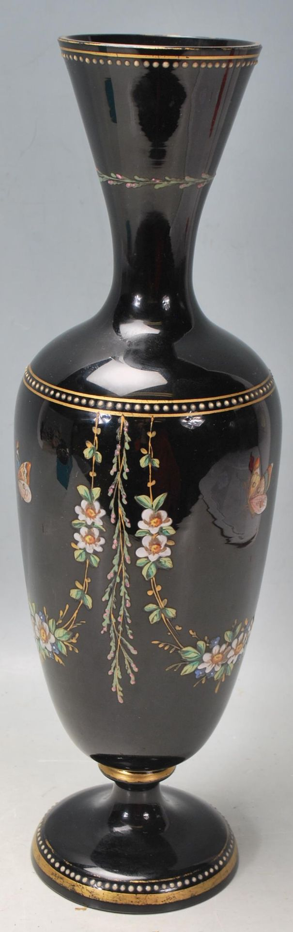 ANTIQUE BLACK AMETHYST BOHEMIAN GLASS VASE - Image 5 of 7