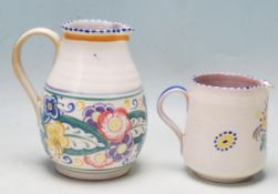 TWO 1920'S CARTER STABLER ADAMS POOLE POTTERY JUGS