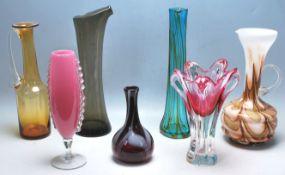 COLLECTION OF STUDIO ART GLASS VASES & JUGS