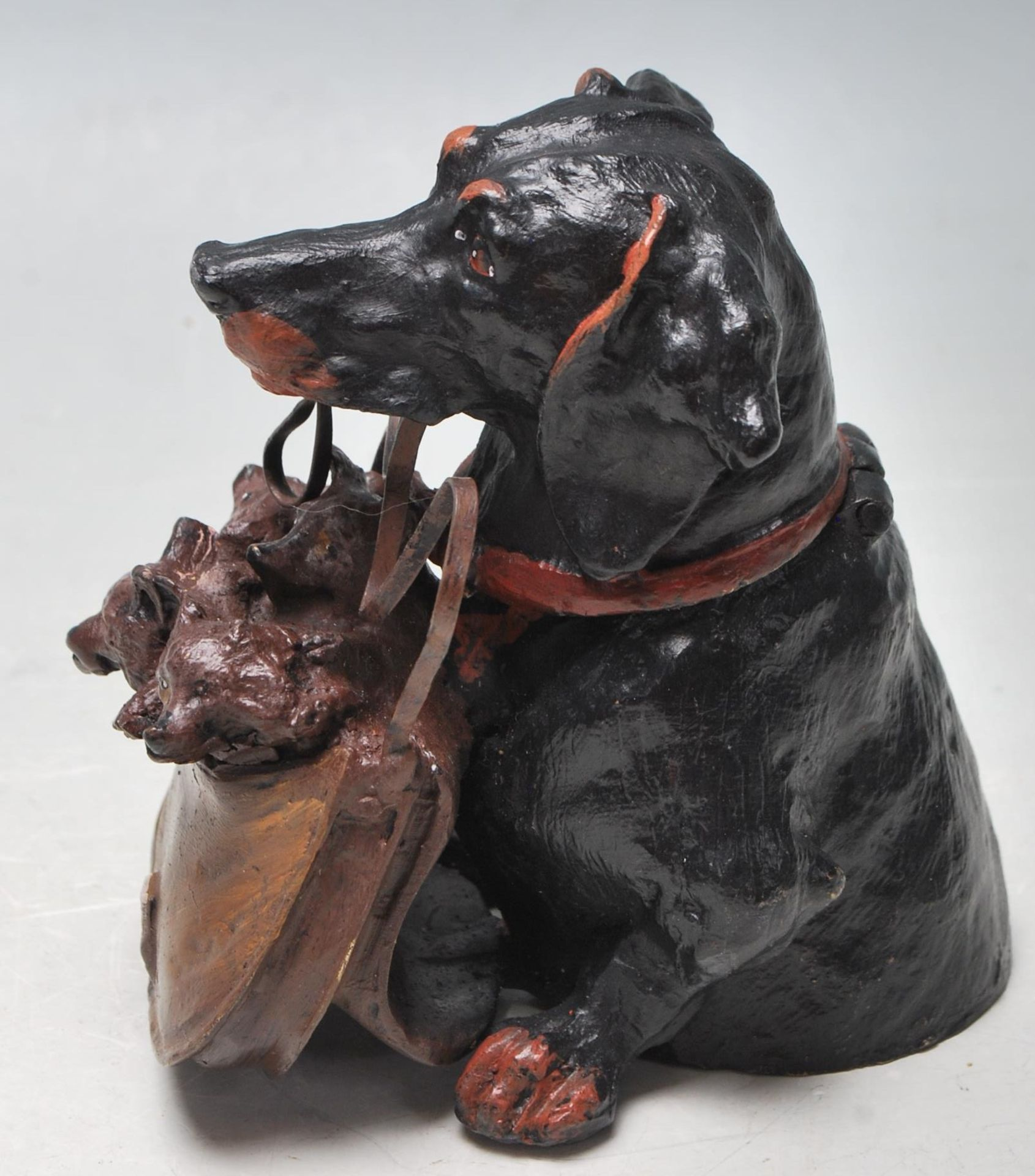 AUSTRIAN STYLE COLDPLAINTED BRONZE DACHSHUND INKWELL - Image 2 of 5