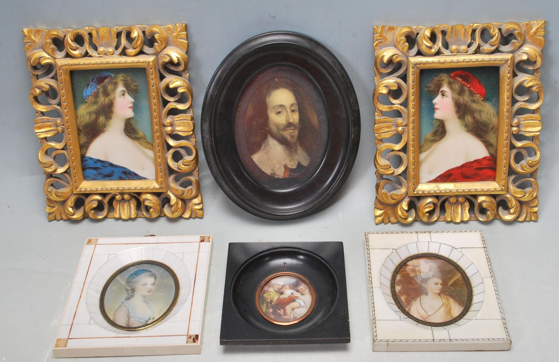 GROUP OF SIX ANTIQUE AND VINTAGE MINIATURE PORTRAITS - TWO HAND PAINTED