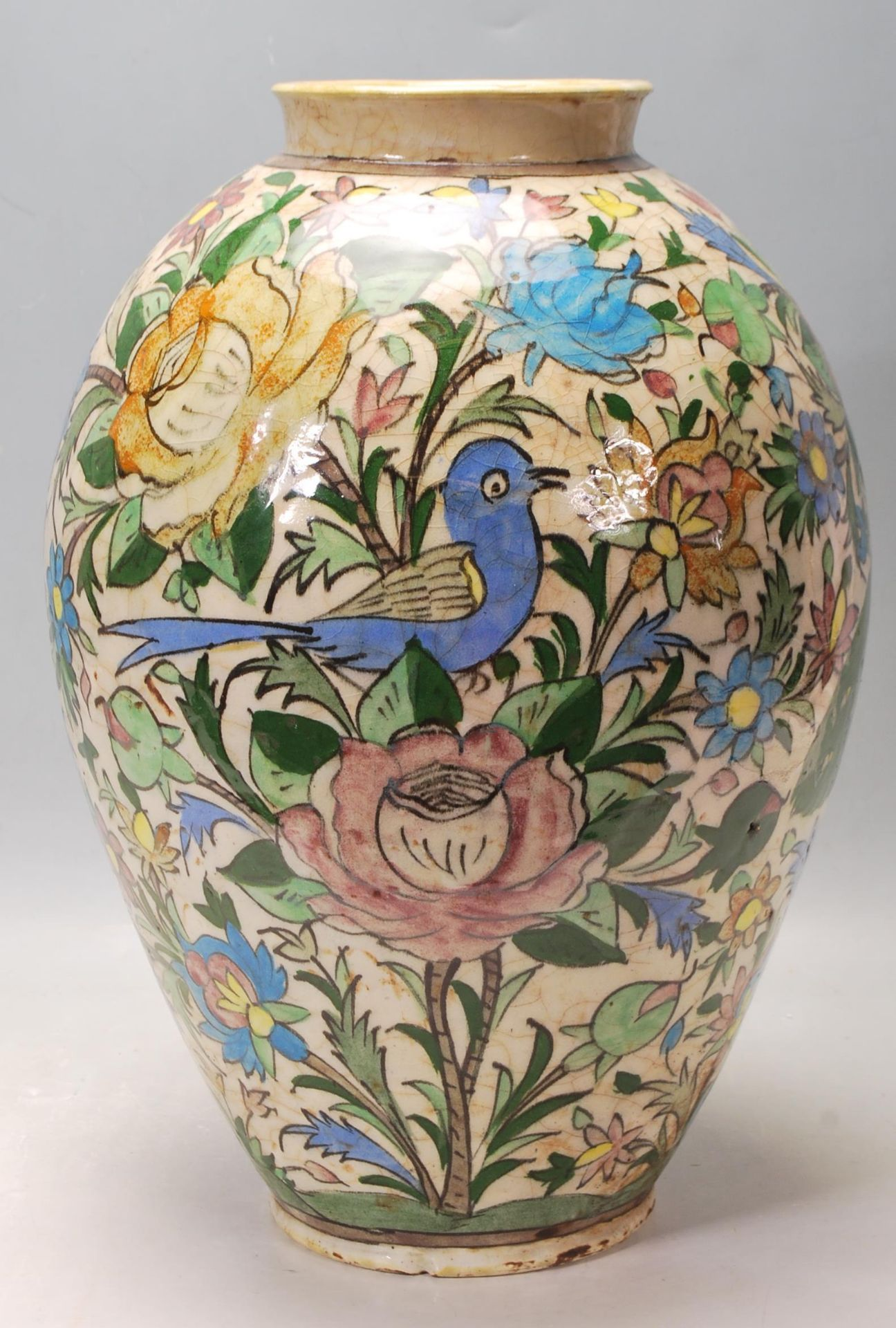 LATE 20TH CENTURY PERSIAN ISLAMIC VASE WITH POLYCHROME DECORATION - Image 2 of 7