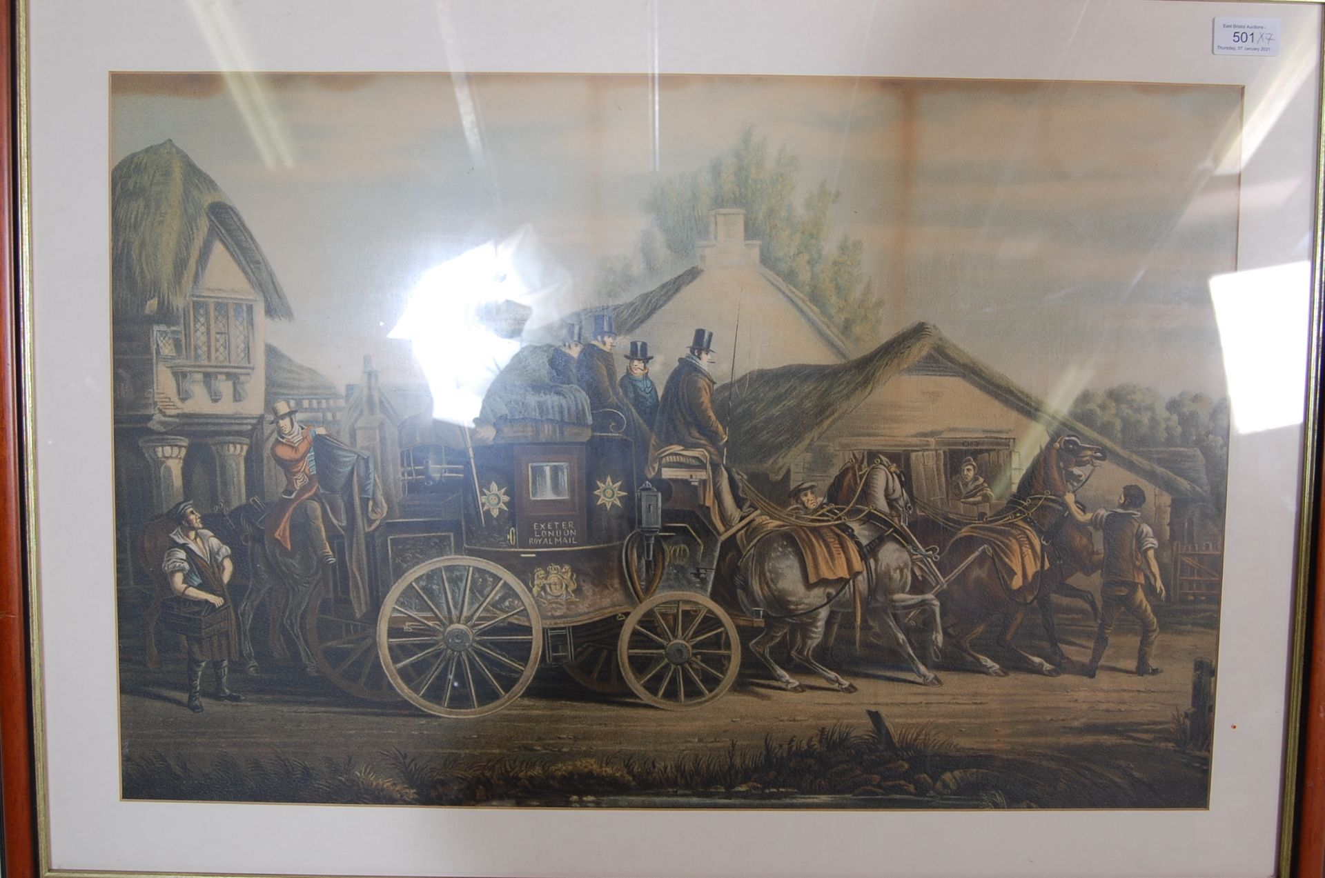 A GROUP OF SEVEN ROYAL MAIL LITHOGRAPH PRINTS DEPICTING 19TH CENTURY ROAYL MAIL COACHES - Image 8 of 13