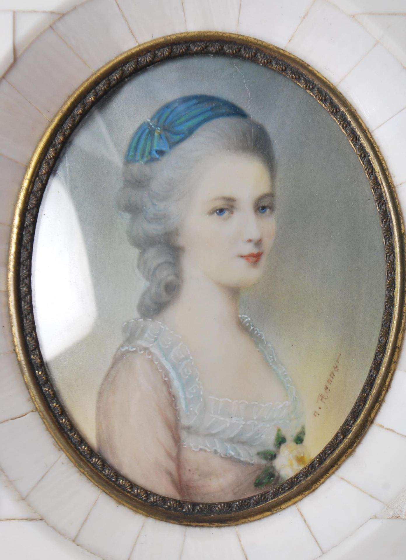 GROUP OF SIX ANTIQUE AND VINTAGE MINIATURE PORTRAITS - TWO HAND PAINTED - Image 6 of 8