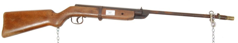 RETRO 20TH CENTURY WOODEN STOCK AIR RIFLE / CORK RIFLE