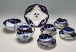 19TH CENTURY VICTORIAN STAFFORDSHIRE BLUE AND WHITE TEA SET