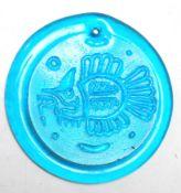 UNUSUAL 1960'S RETRO VINTAGE BLUE GLASS FISH DISC