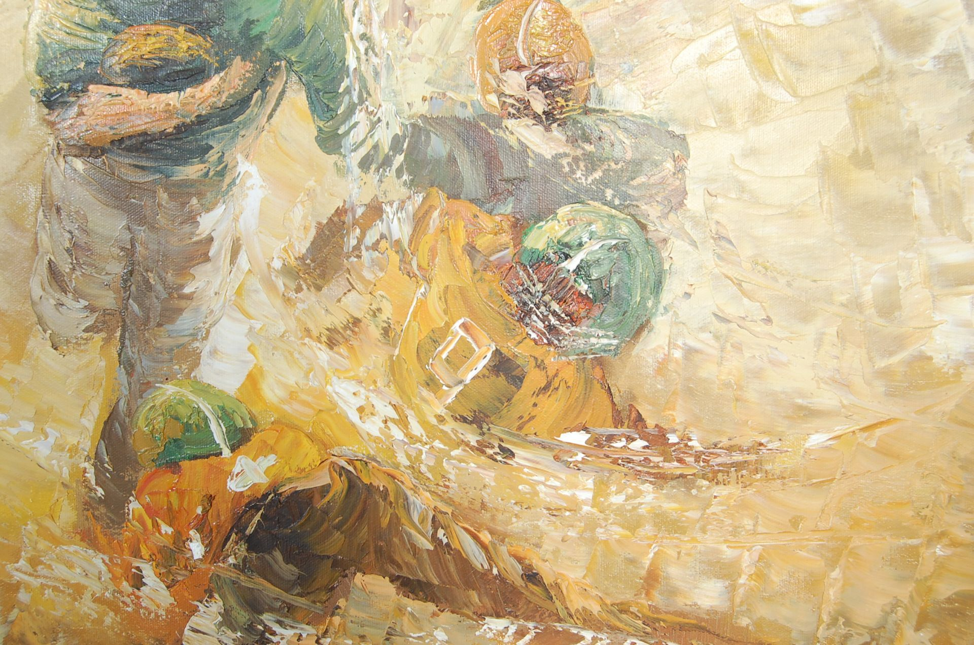 AMERICAN FOOTBALL OIL ON CANVAS PALETTE KNIFE PAINTING - Image 4 of 6