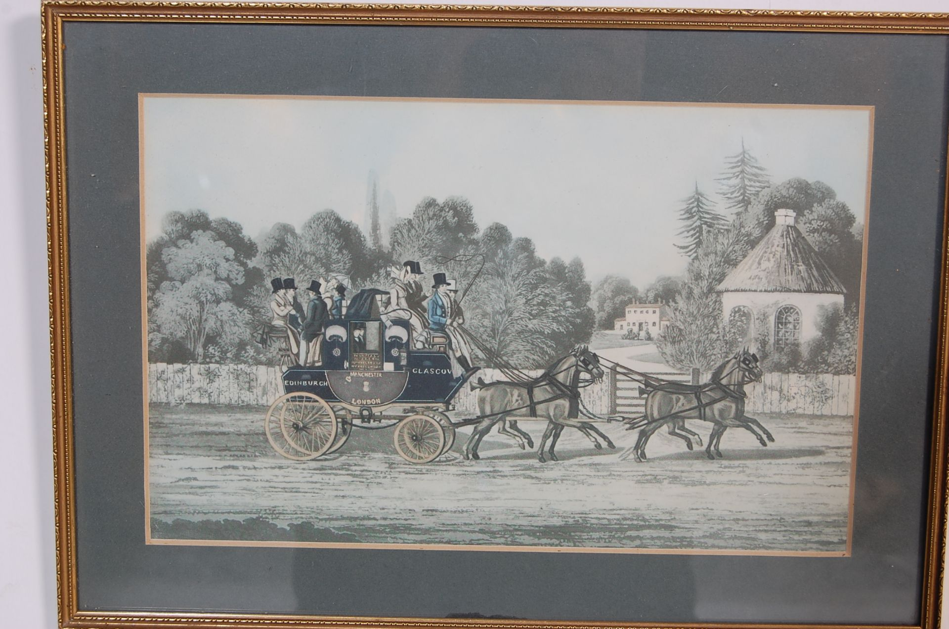 A GROUP OF SEVEN ROYAL MAIL LITHOGRAPH PRINTS DEPICTING 19TH CENTURY ROAYL MAIL COACHES - Image 3 of 13