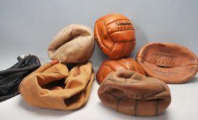 VINTAGE LINDOP LEATHER NETBALLS & INTERNATIONAL RUGBY BALL