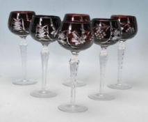 SET OF SIX 20TH CENTURY BOHEMIAN RUBY CRYSTAL GLASSES