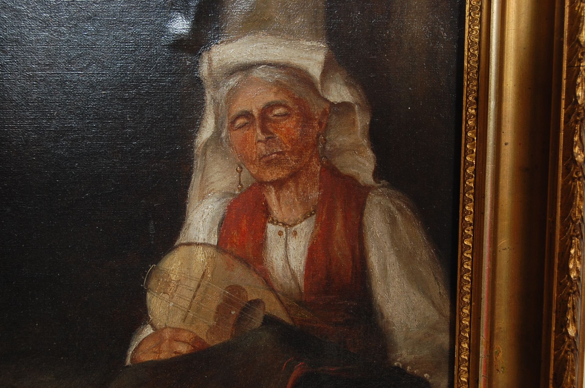 19TH CENTURY OIL OF A SLEEPING MANDOLIN PLAYER BY C EVANS - Image 3 of 5