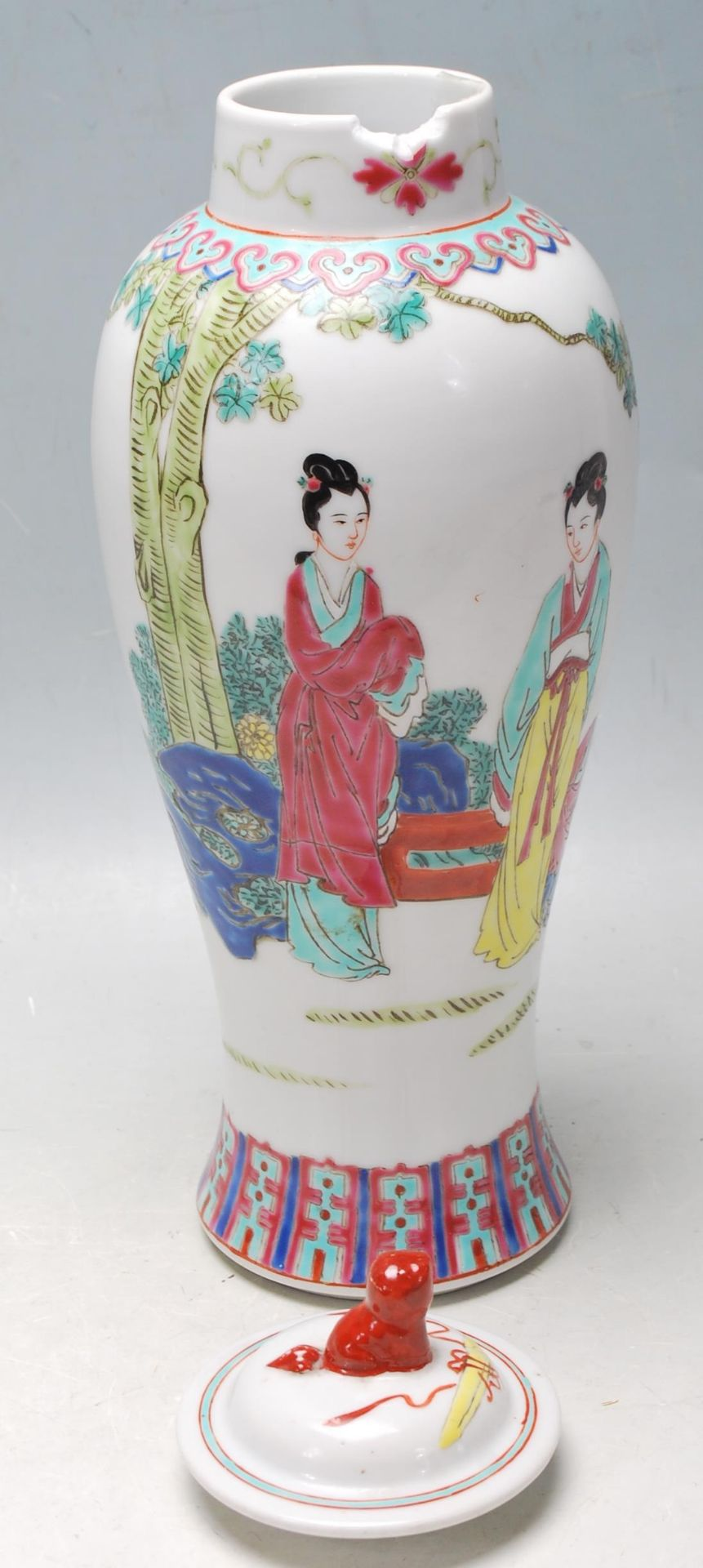 MID 20TH CENTURY FAMILLE ROSE MEIPING VASE - Image 6 of 8
