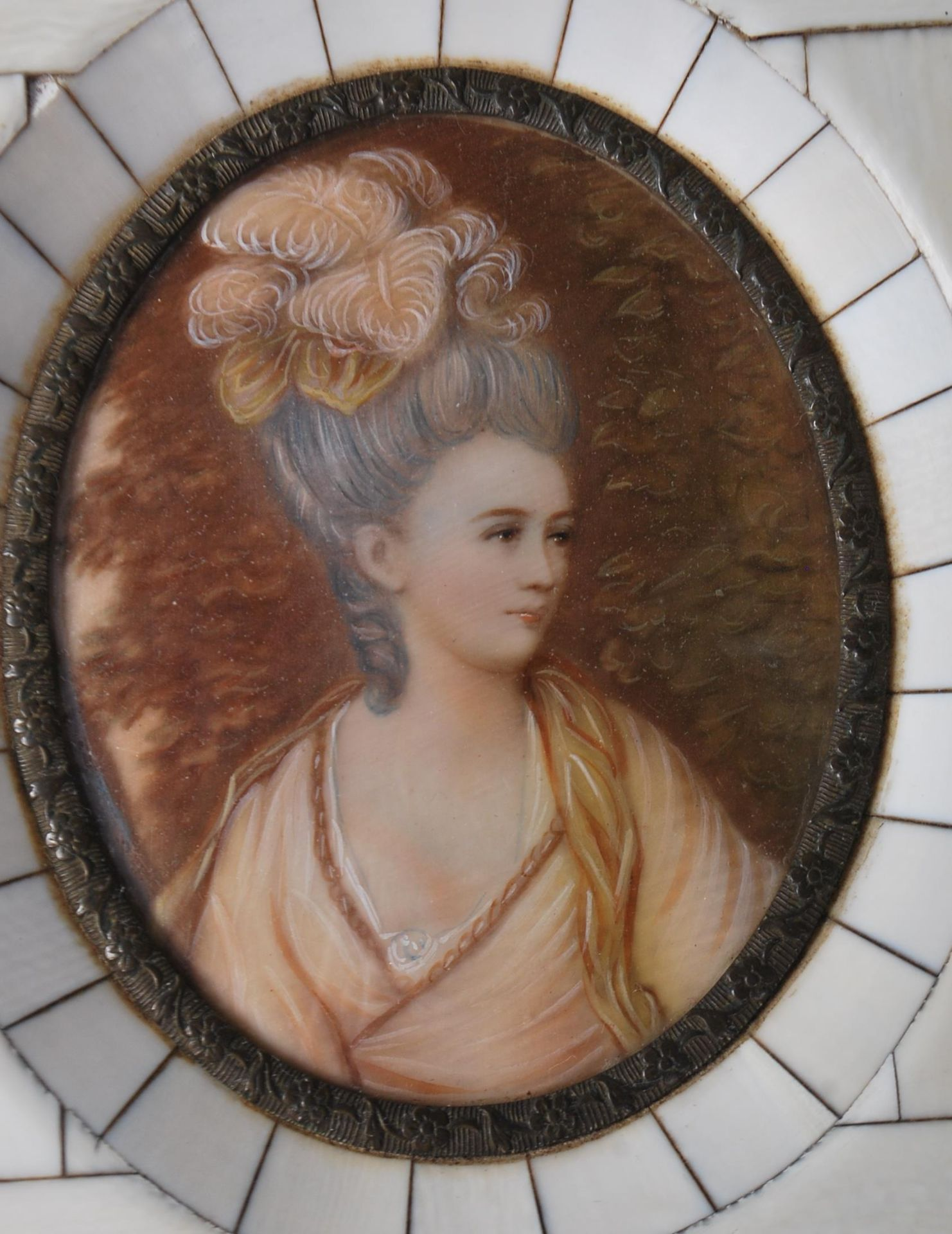 GROUP OF SIX ANTIQUE AND VINTAGE MINIATURE PORTRAITS - TWO HAND PAINTED - Image 7 of 8