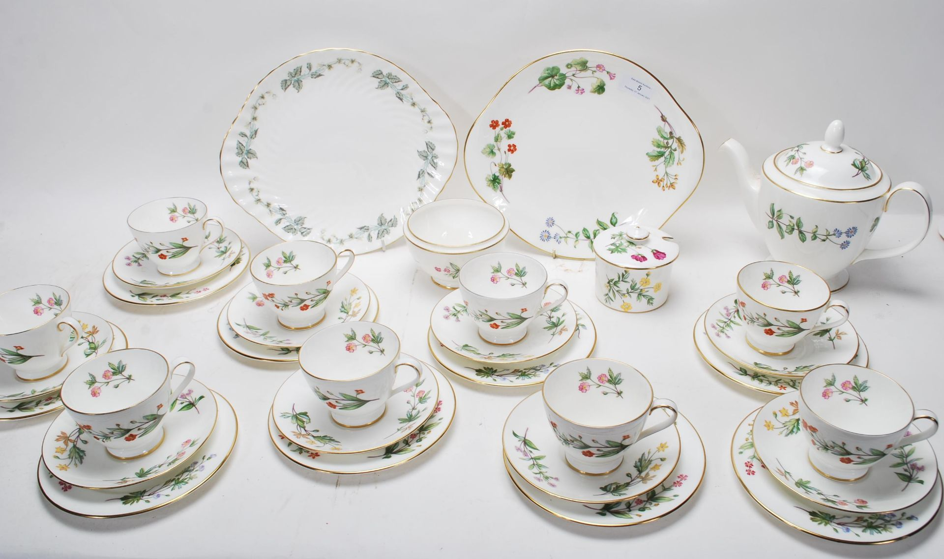 MINTON MEADOW PATTERN BONE CHINA TEA SERVICE - Image 2 of 12
