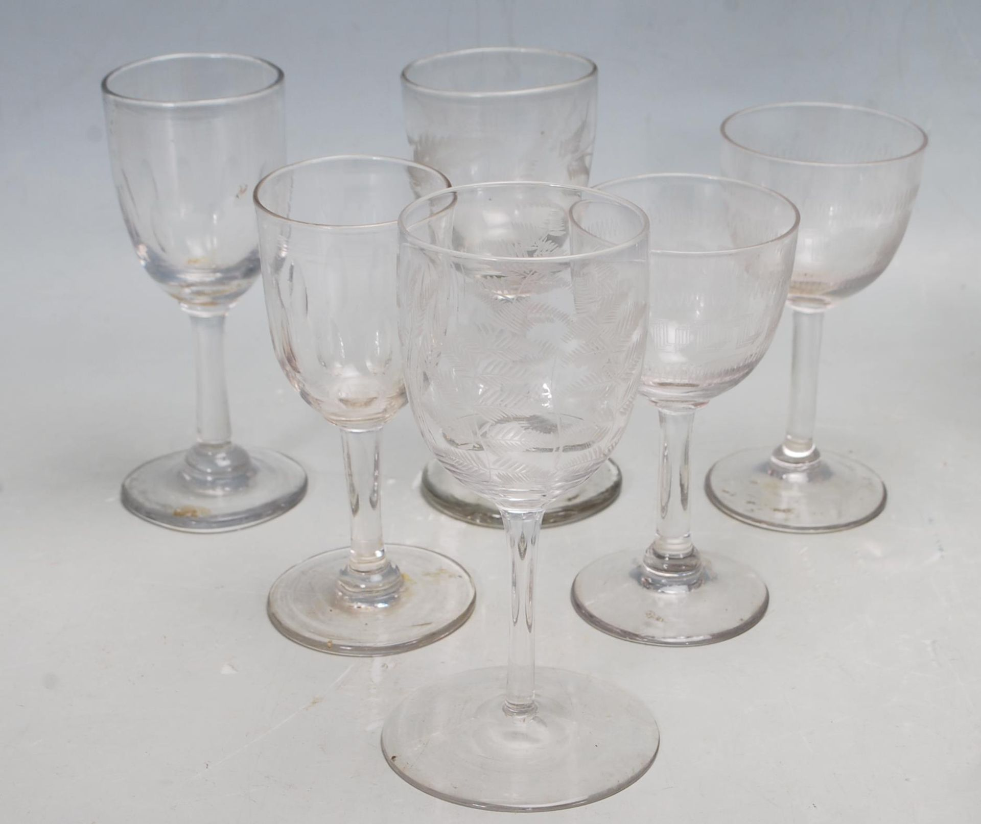 FOUR 18TH CENTURY GEORGIAN DECANTER ALONG WITH A COLLECTION OF VICTORIAN GLASSES - Image 5 of 7