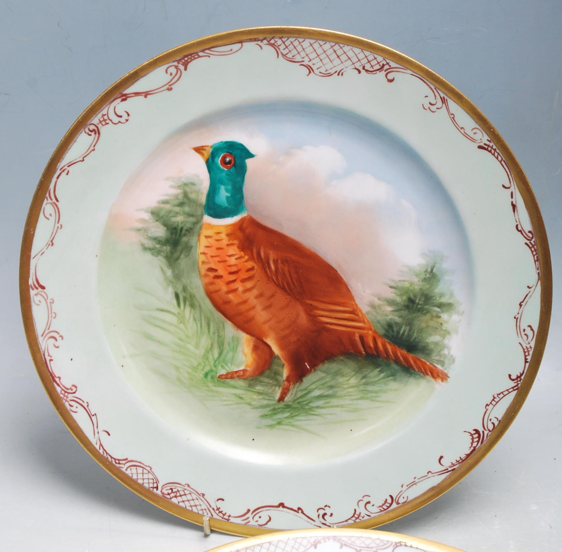 SET 4 JEAN POUYAT LIMOGES GAME BIRD CABINET PLATES - Image 2 of 6
