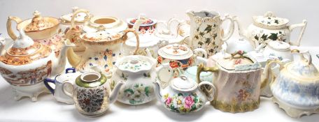 LARGE COLLECTION OF VICTORIAN 19TH AND 20TH CENTURY TEAPOTS