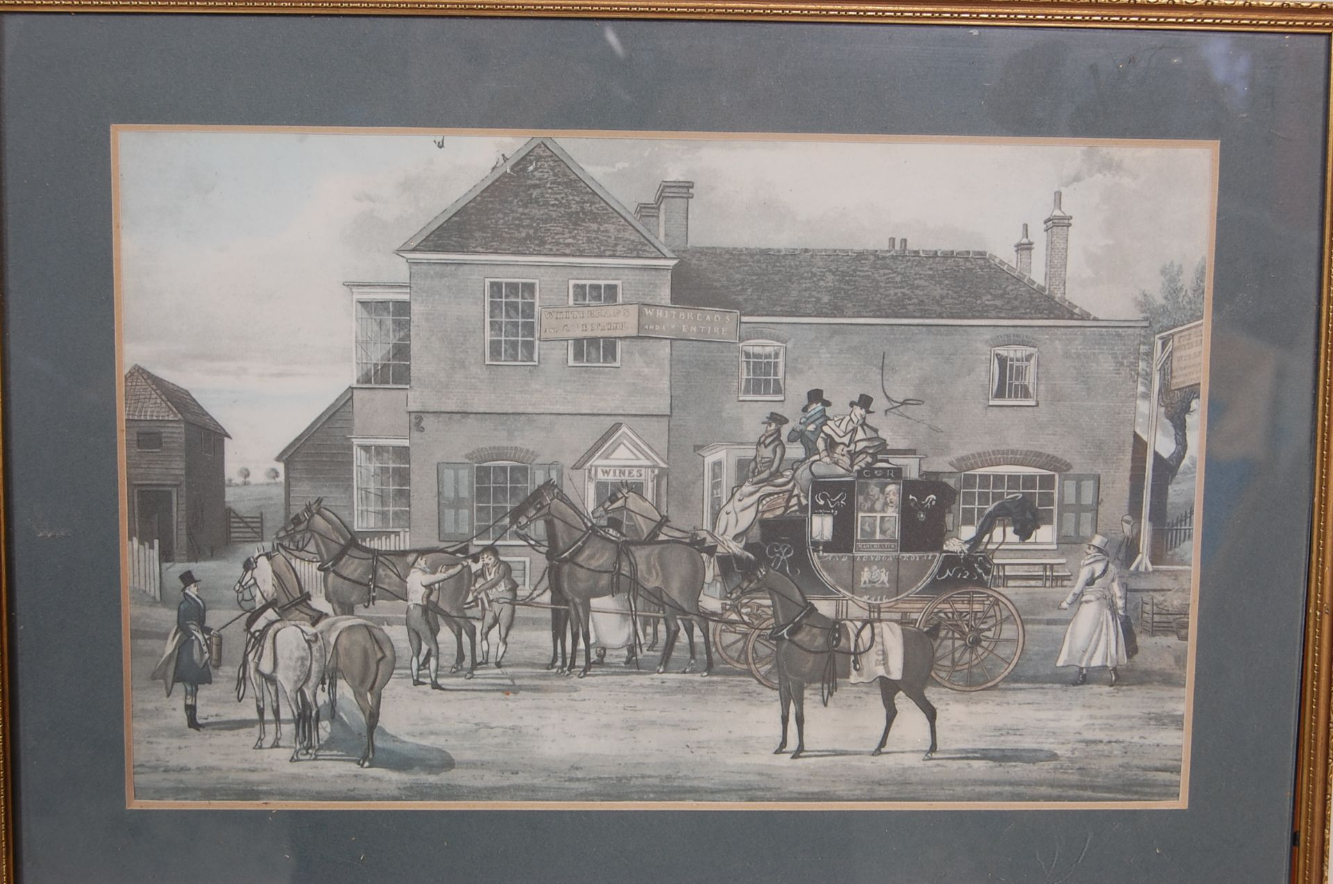 A GROUP OF SEVEN ROYAL MAIL LITHOGRAPH PRINTS DEPICTING 19TH CENTURY ROAYL MAIL COACHES - Image 5 of 13