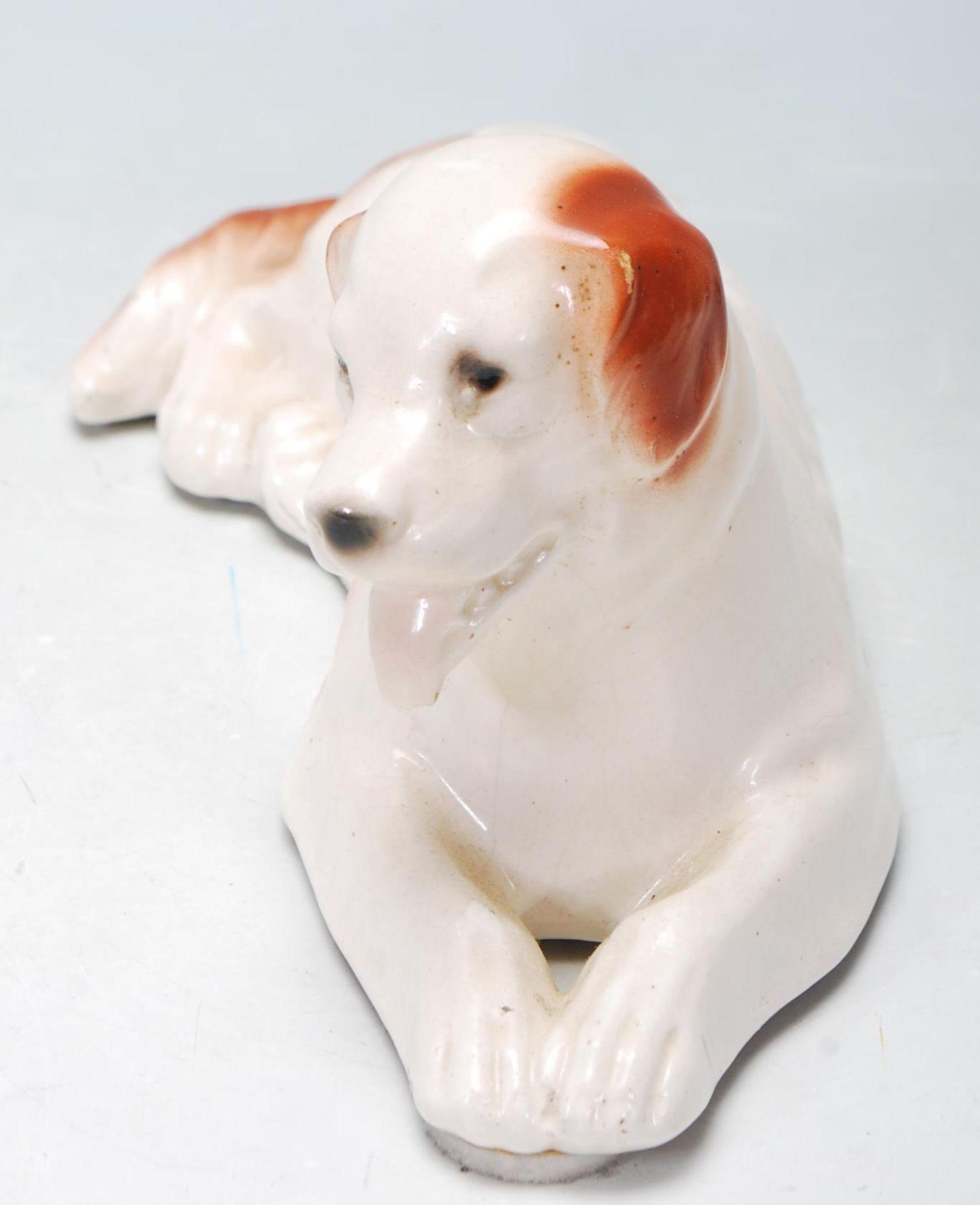 SITZENDORD CERAMIC FIGURINE OF A DOG RECLINING - Image 2 of 5