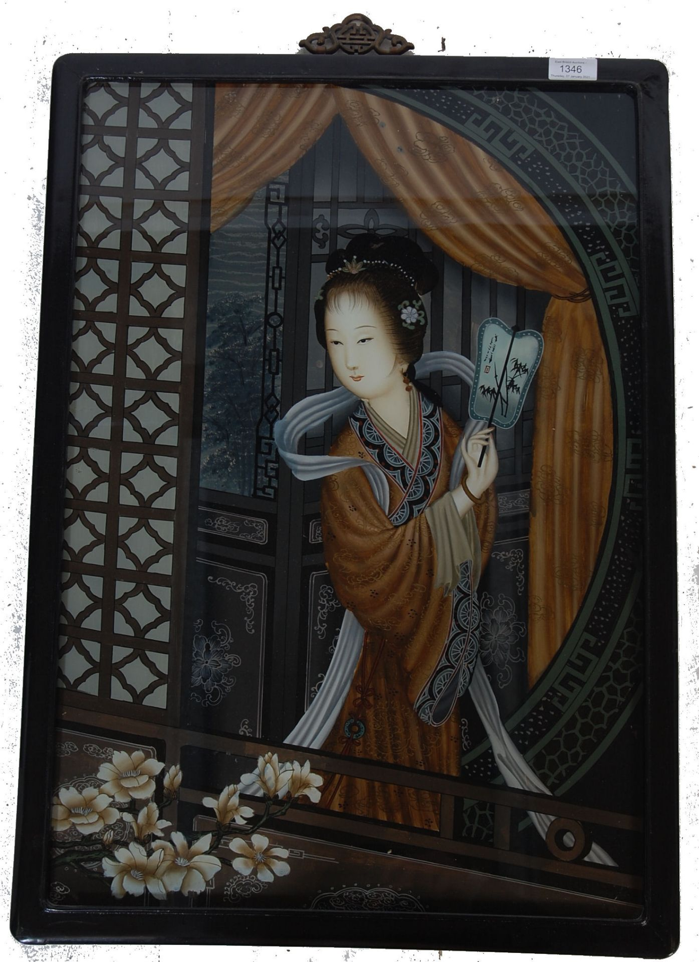 20TH CENTURY ANTIQUE STYLE REVERSED PAIN TING ON GLASS OF A GEISHA