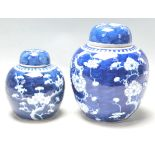 TWO ANTIQUE EARLY 20TH CENTURY CHINESE BLUE AND WHITE GINGER AND JARS