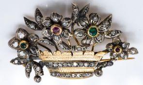 Antique 18ct Gold Diamond Giardinetto brooch