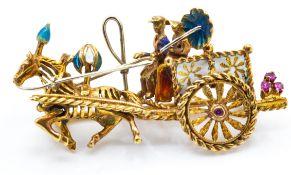 A Gold Ruby & Enamel Novelty Brooch Pin