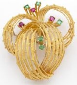A Signed Mouawad 18ct Gold Ruby & Emerald Brooch Pin