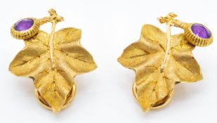 A pair of signed Buccellati 18ct gold & Amethyst Ear Clips