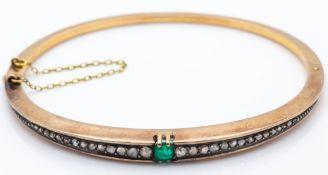 An Antique 18ct Gold Emerald & Diamond Hinged Bangle