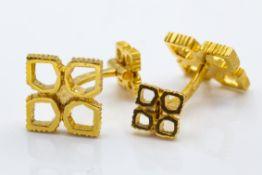 French 18ct Yellow Gold Chaumet Cufflinks