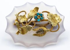 Victorian 19th Century Crystal & Turquoise Mourning Brooch