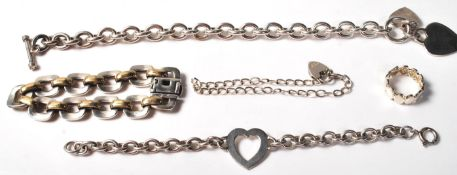 GROUP OF FOUR SILVER LADIES BRACELETS