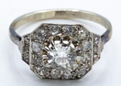 A French Art Deco 18ct Gold Platinum Diamond Cluster Ring